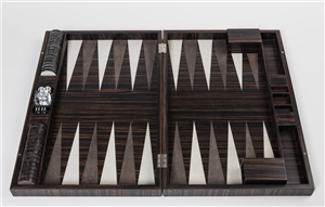 Luxury Backgammon Set in Dark Ebony Wood inlaid with white white and brown