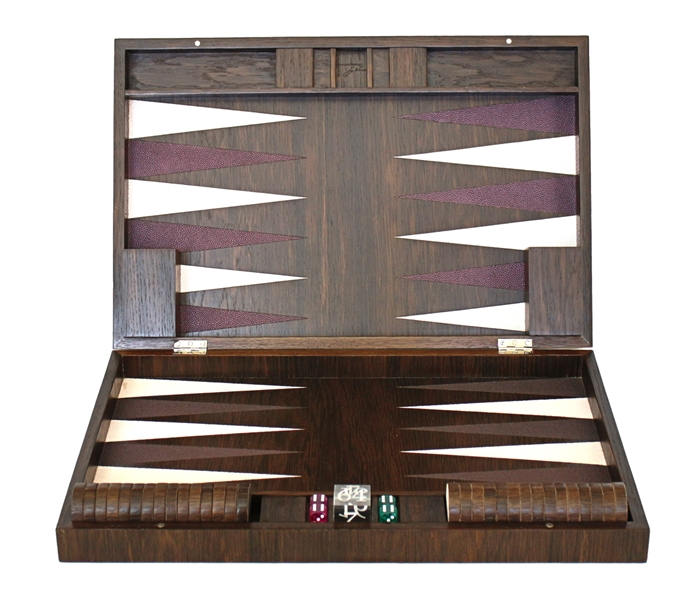 Luxury Smoked Oak Backgammon Set inlaid with ivory and grape inserts