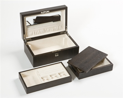 Jewellery Box in Smoked Oak with internal jewellery tray and travelling box