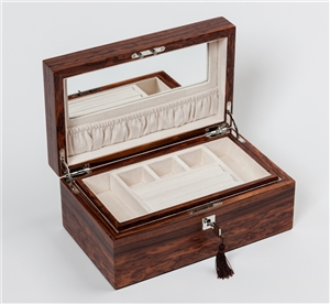 Jewellery Box in Santos Rosewood with internal jewellery tray and travelling jewellery box