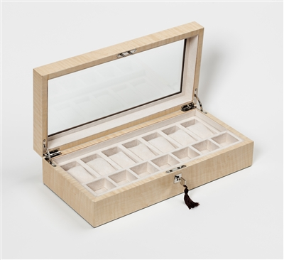 Exclusive Luxury Watch Box in Figured Sycamore with glass viewing window