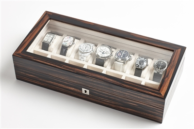 A stunning Spider Ebony Macassar luxury watch box with glass display top, fully lockable design