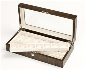 Smoked Oak lockable luxury watch box with glass top for viewing your collection