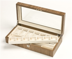 Luxury Watch Boxes for Men in Warm Walnut lined in faux suede
