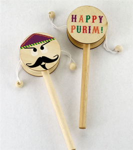 Haman Wooden Drum Gragger with Happy Purim on the other side!