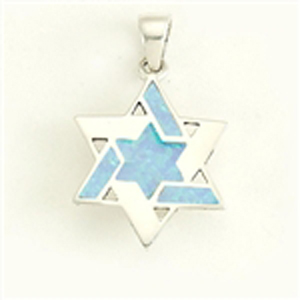 Sterling Star of David with Opal Pendant .75""