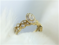Victorian Style Wedding Set with Oval Diamond Center with Halo