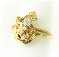 Gold Nugget Single Diamond Wedding Set