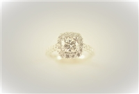 Solitaire with Cushion Halo and Straight Diamond Band