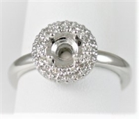 Solitaire Pave Halo Semi-Mount