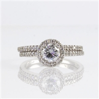 Diamond wedding semi mount in 14K white gold