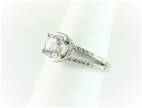 Round Solitaire Halo Split Shank Engagement Ring