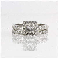 Diamond wedding set with princess center 18K white