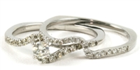 Solitaire Round Fancy Band Wedding Set