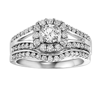 1 ct tw round cut halo wedding set