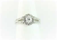 1 carat total weight oval cut halo wedding set.