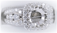 Cushion Halo Graduated Diamond Semi-Mount