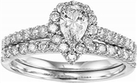 1 carat total weight pear shape halo wedding set