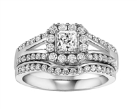 1 ct tw princess cut halo wedding set