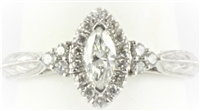 Marquise Halo Ring with Three Diamonds on Sides