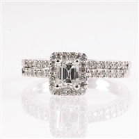 Emerald cut diamond halo wedding set
