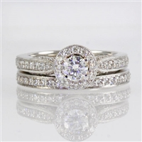 Round diamond 1ct tw halo wedding set