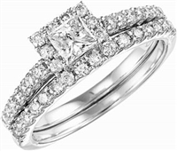 1 carat total weight princess cut halo wedding set.