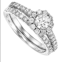 1 carat total weight Round Brilliant Cut halo wedding set.
