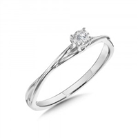Solitaire Diamond Ring with Twisted Band