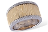 Textured wide gold band with 1/5ct total weight of  diamonds in 14K two tone gold by Allison Kaufman.