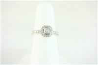 Cushion Halo Straight Band Engagement Ring