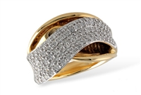 First-class diamond ring in 14K two tone gold.