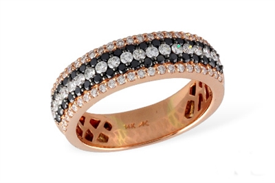 Black and white diamond band in 14K rose gold.