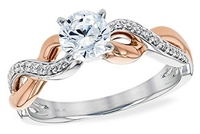 Two-Tone Rose Gold Ribbon Solitaire Ring