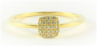 Square Pave Diamond Yellow Gold Ring