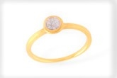 Pave Diamond Round Bezel Gold Ring