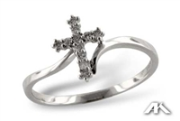 Diamond cross ring in 14K white gold