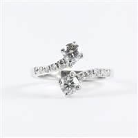 Two diamonds with 1ct total diamond weight in 14K white gold.