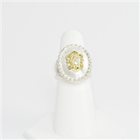 Feel like royalty in this stunning sterling silver, 18K yellow gold and diamond ring.  Gorgeous!
