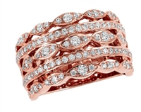 Rose gold diamond band 1.20ct total diamond weight