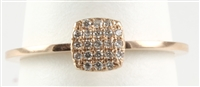 DAINTY BEAUTIFUL 14 K ROSE GOLD SQUARE FACE WITH DIAMONDS IN A CUSHIONED MICRO PAVE' SET.