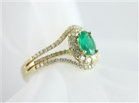 Fashion Ring Emerald Oval with Halo