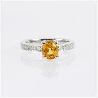 Yellow sapphire and diamond ring in 14K white gold