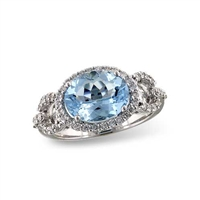 Aquamarine and diamond ring in 14K white gold.