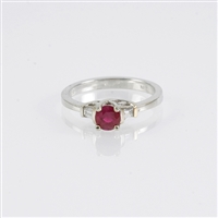 Ruby and diamond ring in 14K white gold.