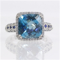 Blue topaz, sapphire and diamond ring in 14K white