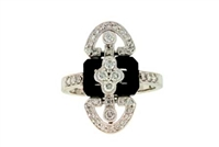 Vintage style onyx and diamond ring in 14K white gold.