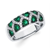 Emerald and diamond ring in 14K white gold.  Diamond weight .30ct. total weight.