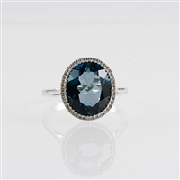 London Blue topaz and diamond ring in 14KW gold