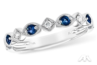 Sapphire and diamond band in 14K white gold.
